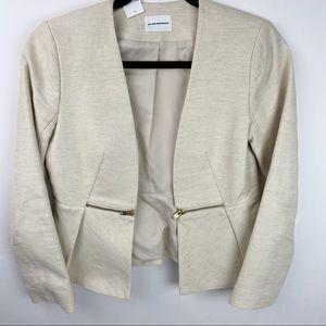 Club Monaco cream blazer with zipper detail